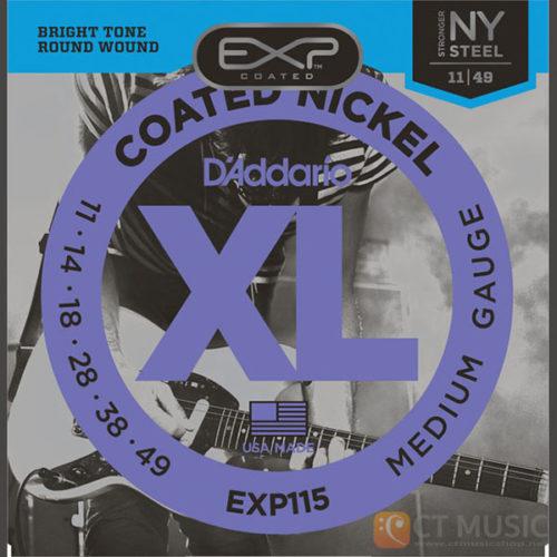 สายกีตาร์ไฟฟ้า D'Addario EXP115 Coated Nickel Wound Blues/Jazz Rock 011-049