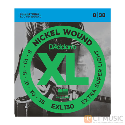 สายกีตาร์ไฟฟ้า D'Addario EXL130 Nickel Wound Extra Super Light 009-038